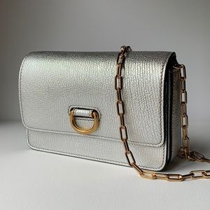 Burberry Hayes Leather D Ring Crossbody Silver NEW